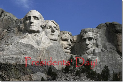 The Mount Rushmore Monument by Dean Franklin from Wikipedia - Presidents' Day!