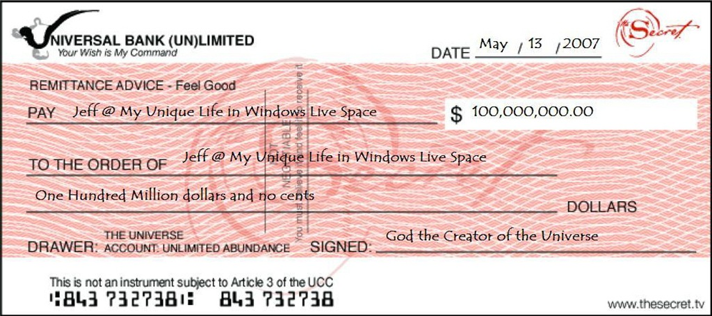 The Anniversary of My Secret Check | My Unique Life in Windows Live ...