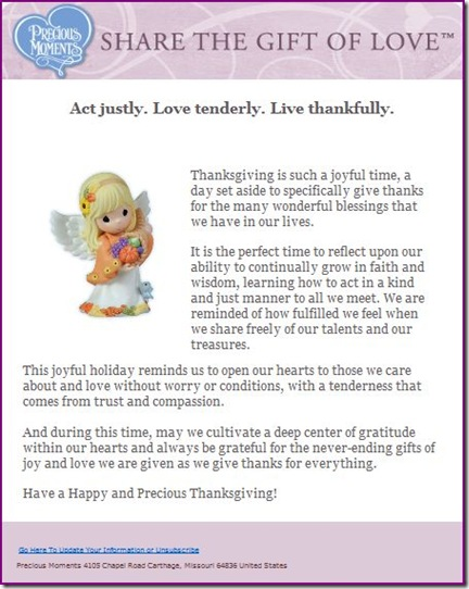 Happy Thanksgiving picture and Email from Precious Moments
